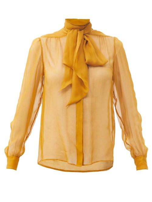 Saint Laurent - Pussy-bow Silk-chiffon Blouse - Womens - Yellow