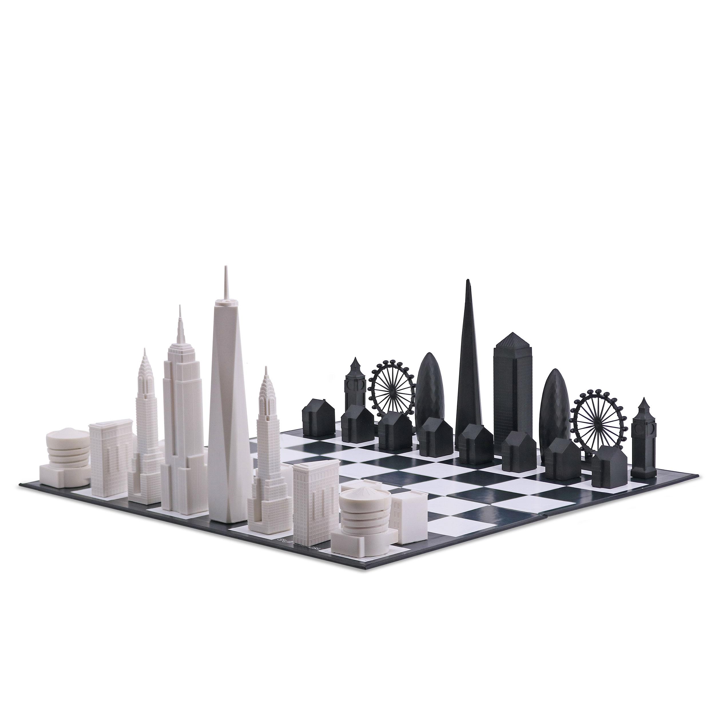 Skyline 天空之城地標西洋棋-藍霞(摺疊棋盤) 倫敦 vs. 紐約