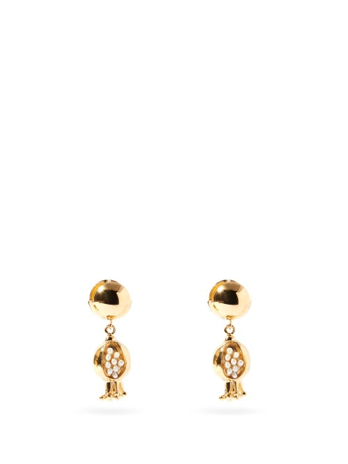 Etro - Pomegranate Faux-pearl And Metal Drop Earrings - Womens - Gold Multi