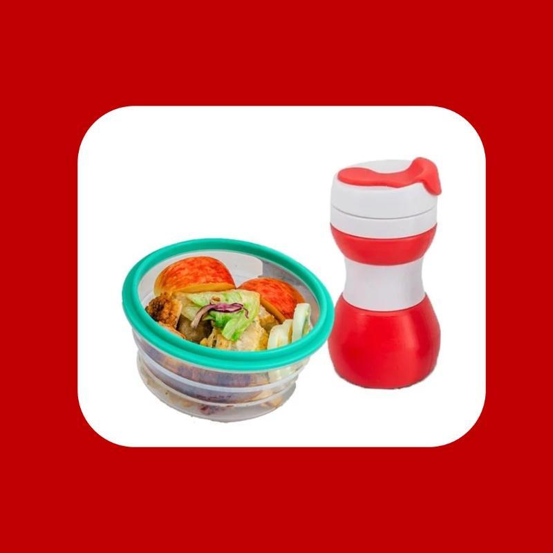 【耶誕交換禮物首選】矽密盒+摺疊環保杯 「紅配綠」搶眼組合