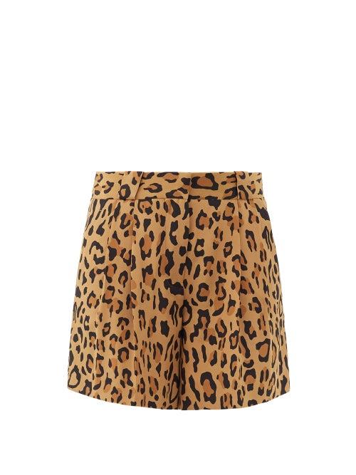 Blazé Milano - Simba Fell Leopard-print Silk-faille Shorts - Womens - Leopard