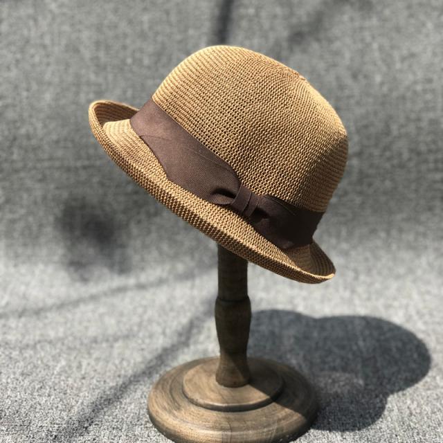 優雅有型卷邊小禮帽女夏天淑女帽子韓版潮百搭英倫漁夫帽出游草帽1入