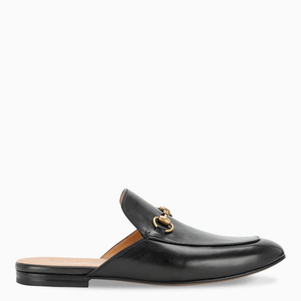 Gucci Men's black leather slippers