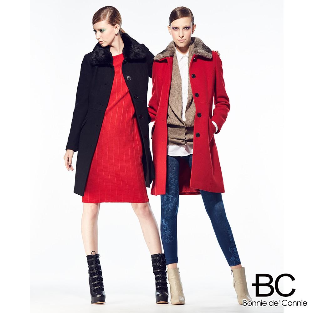 【法國BC】法國時尚設計-魚骨織紋羊毛大衣 羊毛外套 保暖舒適(現貨出清)