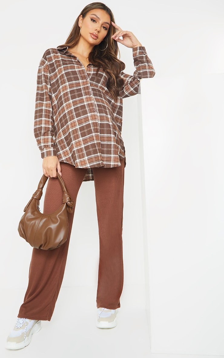 Maternity Chocolate Ribbed Wide Leg Pants