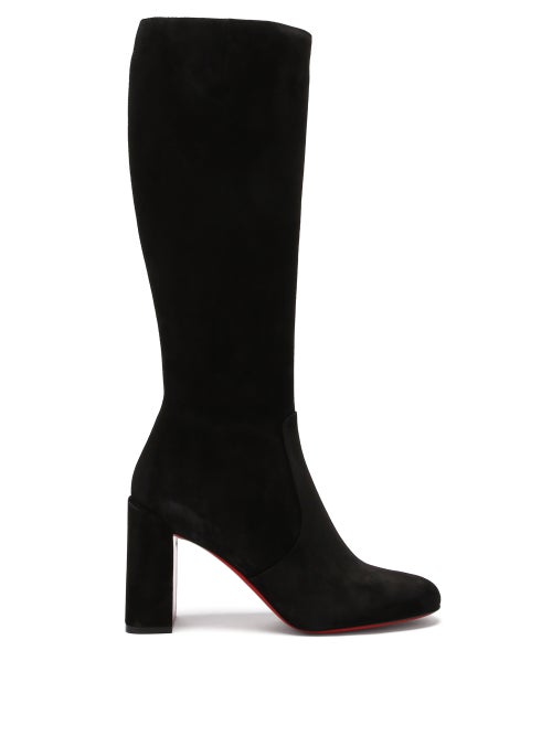 Christian Louboutin - Cavalika 85 Suede Knee-high Boots - Womens - Black