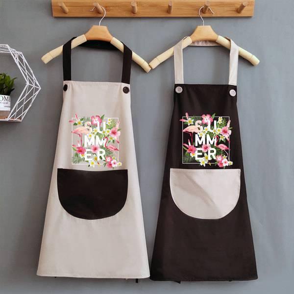 夏天可愛做飯女圍裙家用廚房防水防油日系大人工作圍腰圍布