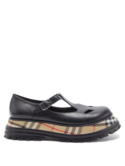 Burberry - Aldwych House-check Leather T-bar Flats - Womens - Black Multi