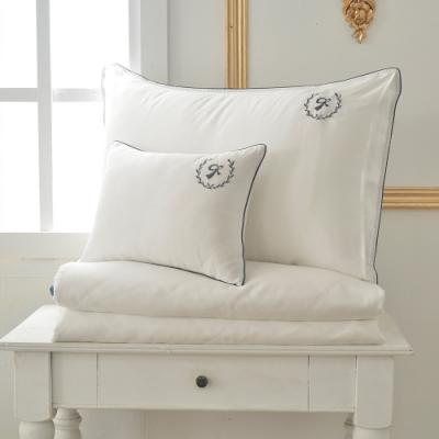 義大利La Belle 爵士典範 特大天絲滾邊刺繡防蹣抗菌吸濕排汗兩用被床包組 白色