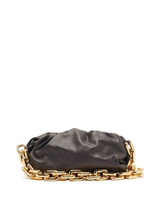 Bottega Veneta - The Chain Pouch Leather Clutch Bag - Womens - Brown Gold