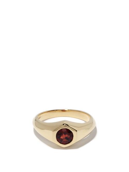 Lizzie Mandler - January Garnet & 18kt Gold Signet Ring - Womens - Red Gold