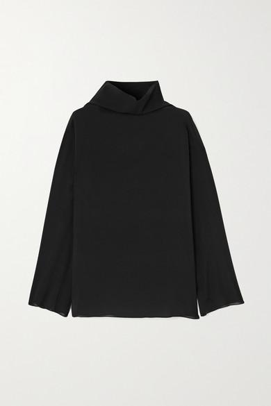 Rosetta Getty - 垂褶真丝混纺雪纺绸女衫 - 黑色 - US6