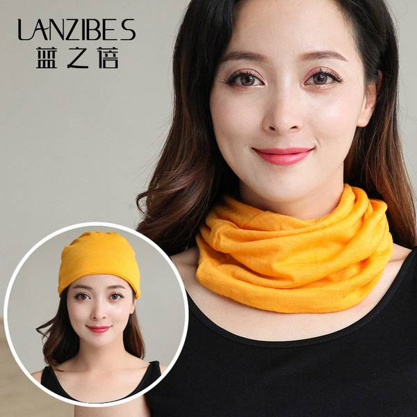 藍之蓓百變包頭頭巾堆堆帽圍脖雙層女羊毛針織孕婦防風月子帽新款