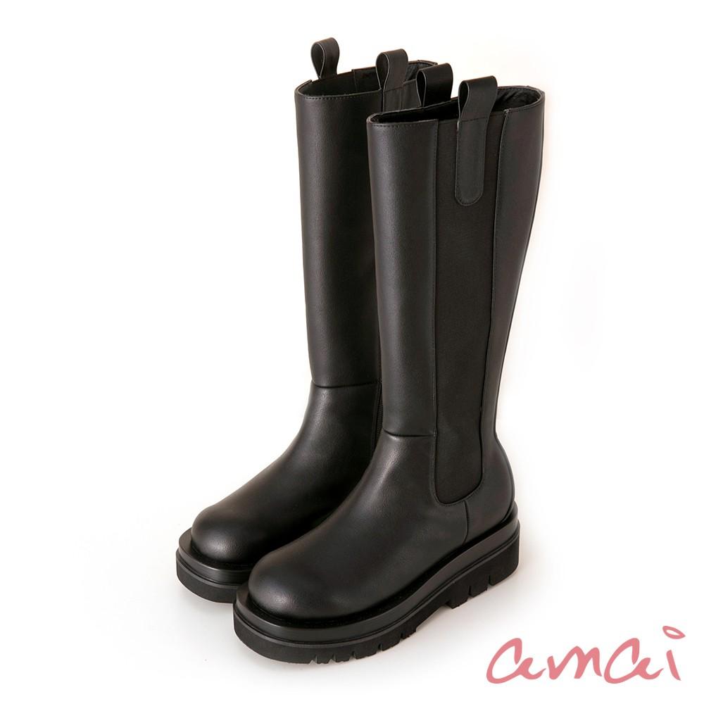 amai 經典個性厚底切爾西靴(長筒) 黑 GB505BK