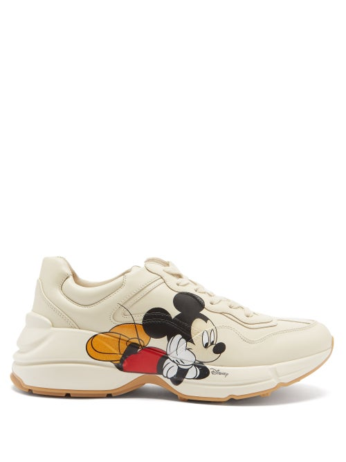 Gucci - X Disney Rhyton Mickey Mouse-print Trainers - Womens - White Multi