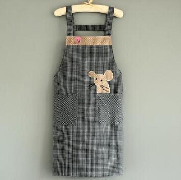 圍裙 時尚背帶純棉圍裙女家用防污工作服可愛日系大人廚房做飯罩衣定制【快速出貨八折優惠】