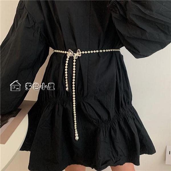 腰帶腰帶女士配連衣裙子外套裝飾收腰簡約百搭時尚打結腰封細腰鍊加長 快速出貨
