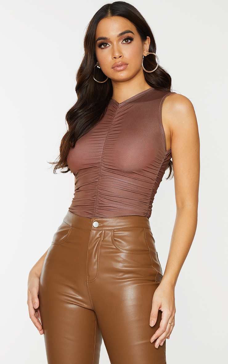 Chocolate Slinky Ruched High Neck Bodysuit