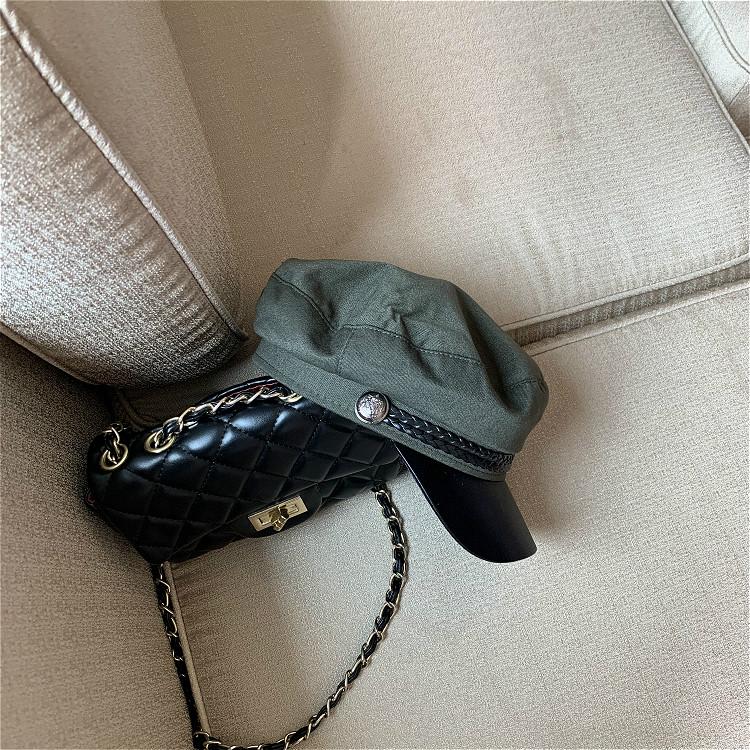 網紅八角帽秋冬貝雷帽女英倫復古韓版日系百搭潮平頂海軍帽報童帽1入