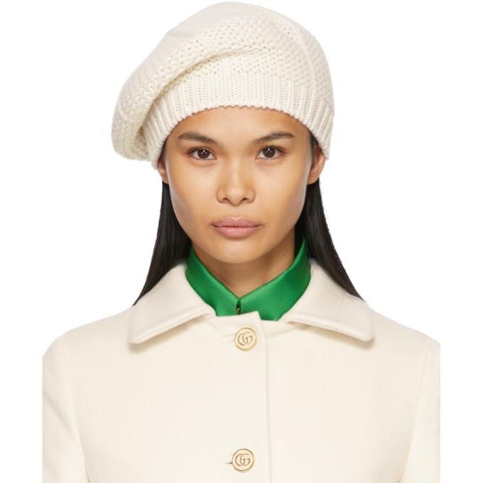 Gucci 白色羊毛贝雷帽