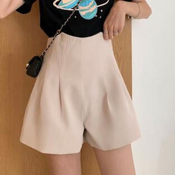 短褲 黑色高腰休閒短褲女2021夏季新款寬鬆西裝網紅褲子潮ins超火套裝【快速出貨八折搶購】