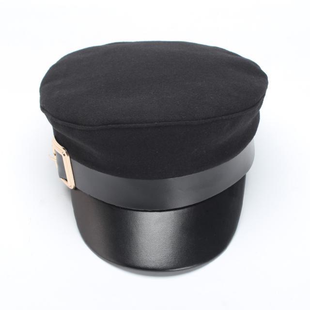 (亮扣)歐美秋冬季羊毛呢皮檐騎士帽復古學生帽棒球帽女帽子1入