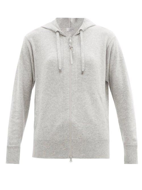 Brunello Cucinelli - Hooded Zip-up Cashmere Sweatshirt - Womens - Light Grey