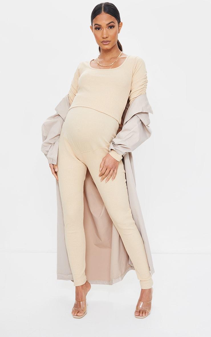 Maternity Camel Bump Support Ribbed Leggings
