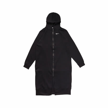Nike 外套 Long Full-Zip Fleece 女款 長版 連帽 雙拉鍊 穿搭 寬鬆 內刷毛 黑 白 CU7071010 CU7071-010