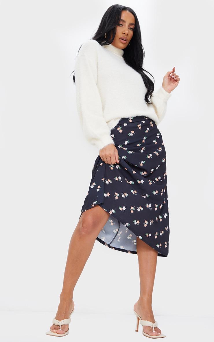 Black Floral Printed Floaty Midi Skirt