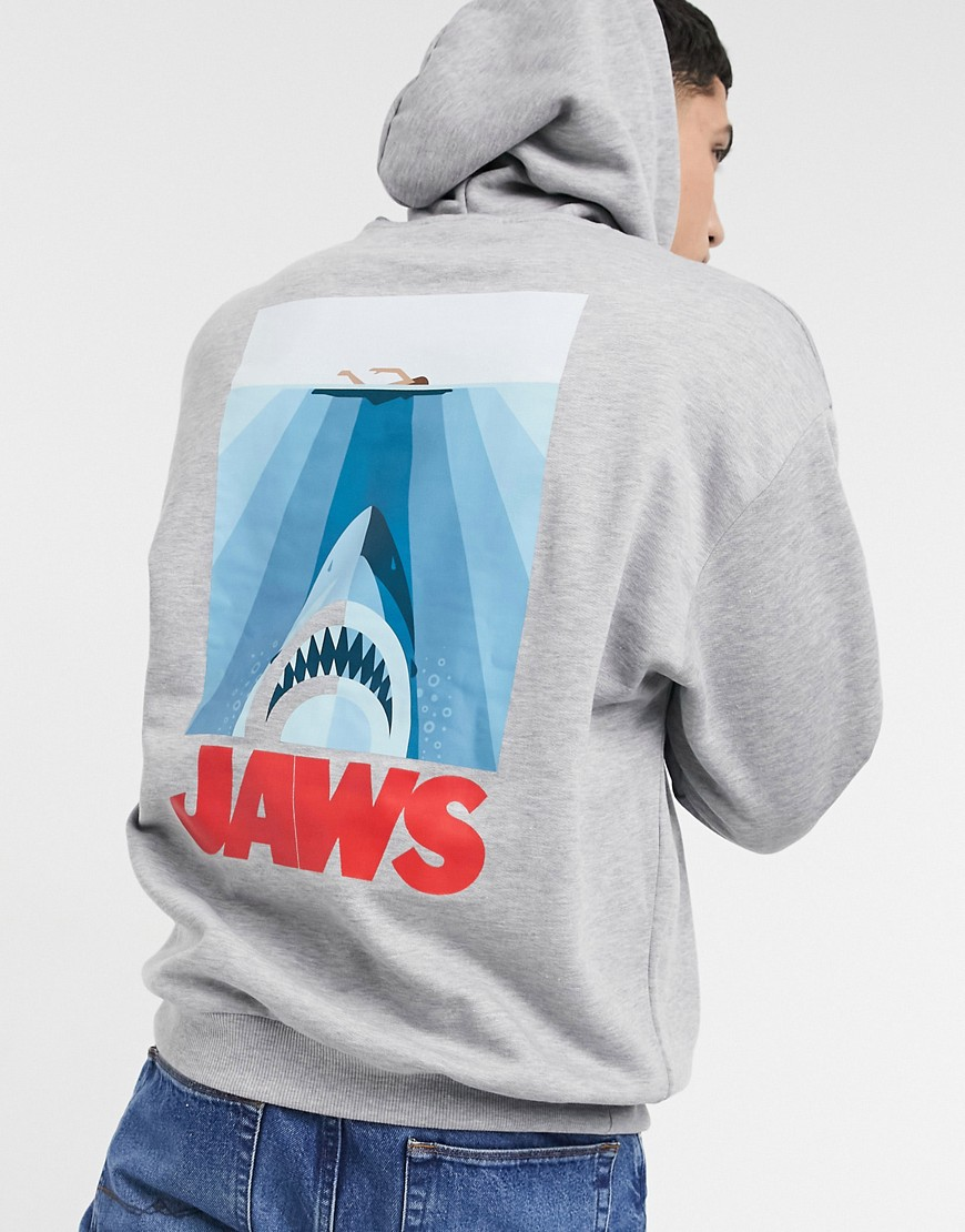 ASOS DESIGN oversized hoodie in grey marl with Jaws back print