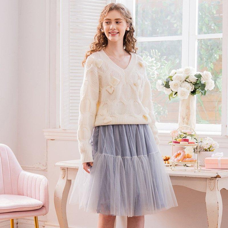【預購】Jasmine糖果淺藍灰澎澎短網紗裙