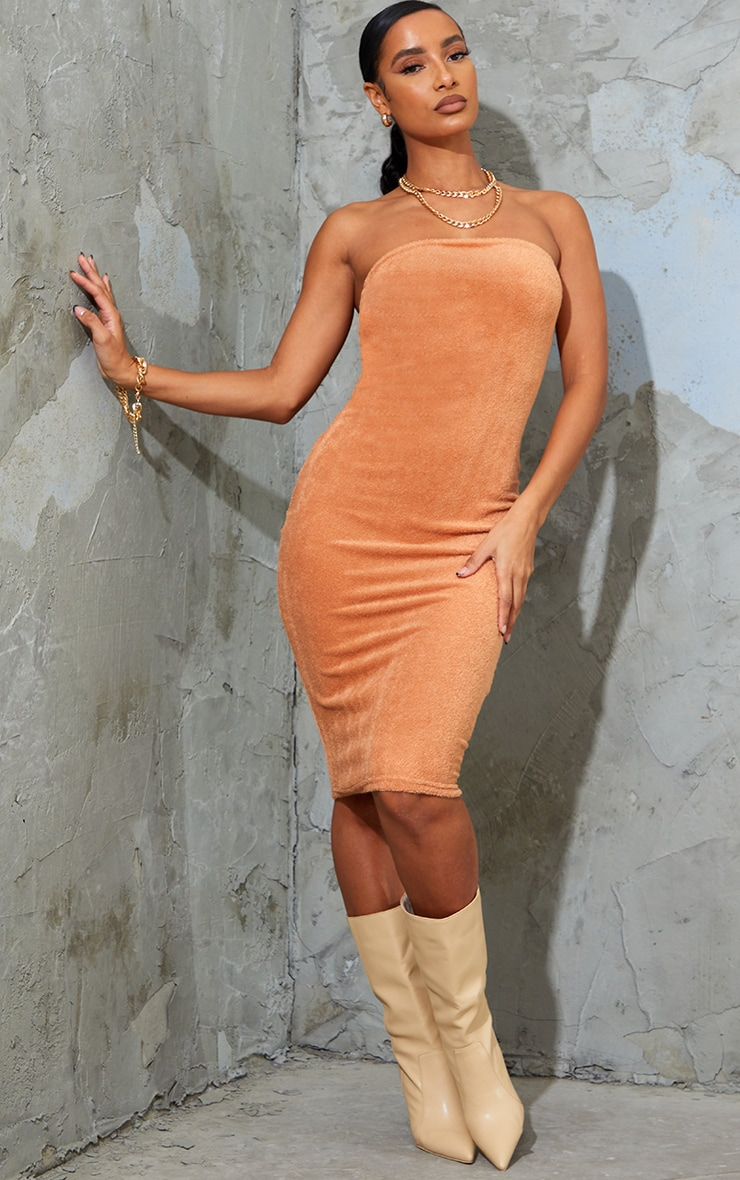 Stone Towelling Bandeau Midi Dress