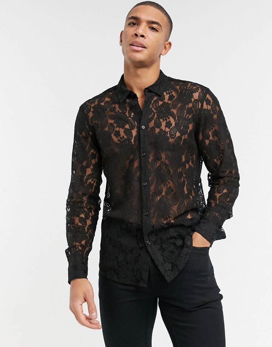 ASOS DESIGN regular fit lace shirt in black