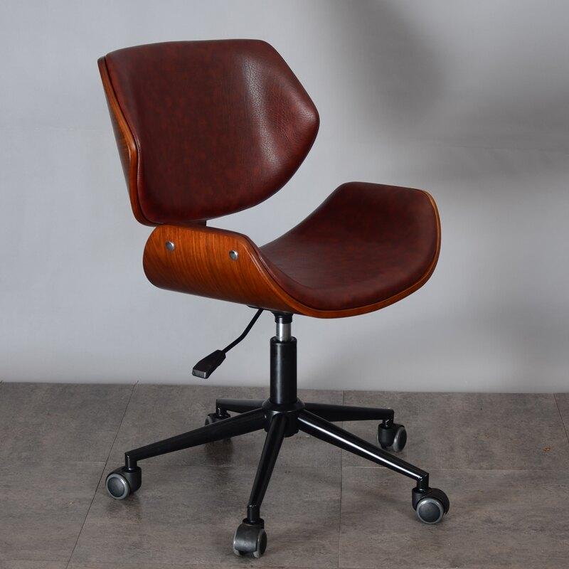 電腦椅家用簡約現代書桌椅轉椅實木小巧可升降職員高檔辦公椅子