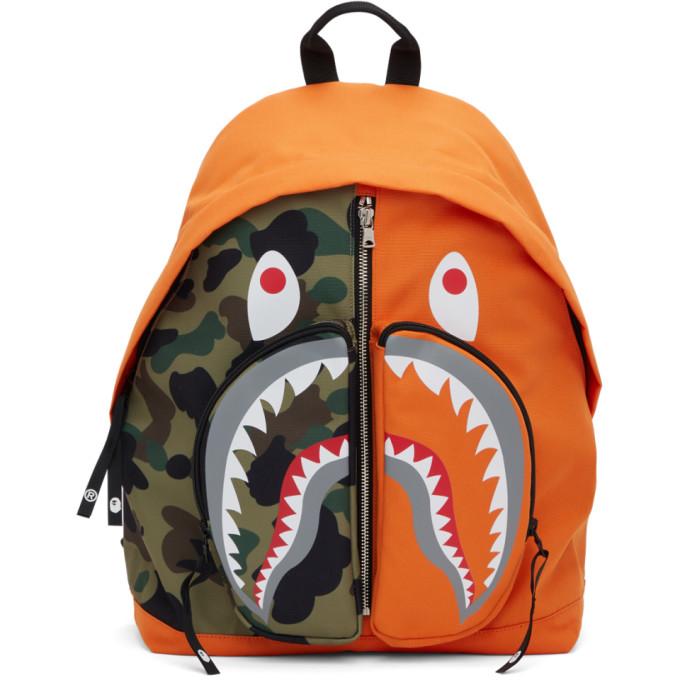 BAPE 橙色 Shark Day Camo 双肩包