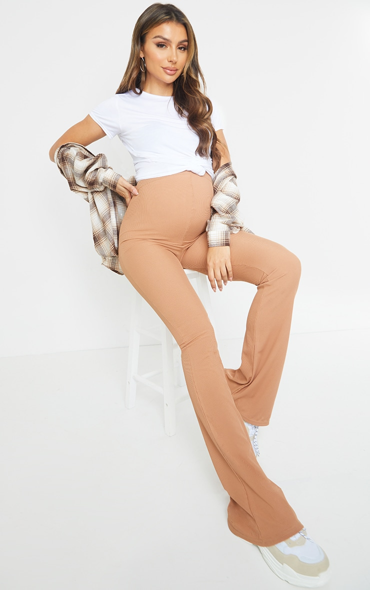 Maternity Camel Ribbed Flared Leggings