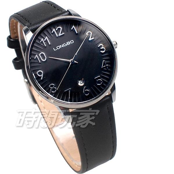 LONGBO龍波 完美情人 愛戀蔓延 腕錶 男錶 中性錶 日期顯示窗 黑色 L7369-黑大
