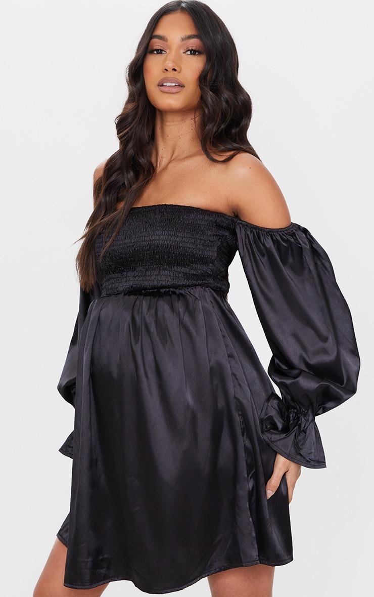 Maternity Black Satin Shirred Mini Dress