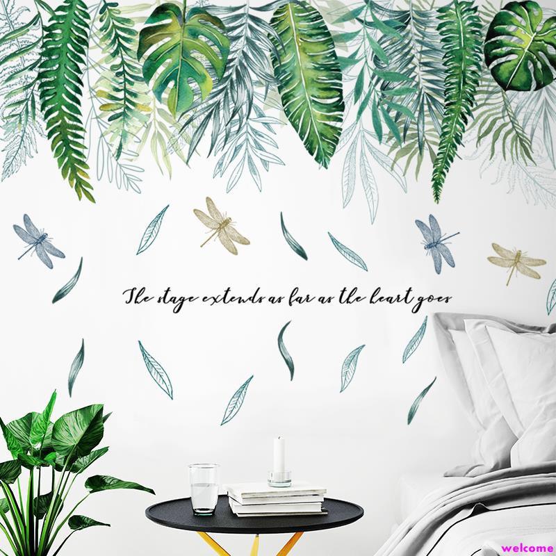 ★墻貼熱帶綠葉文藝臥室客廳宿舍自粘貼紙房門植物花卉墻壁裝飾貼畫