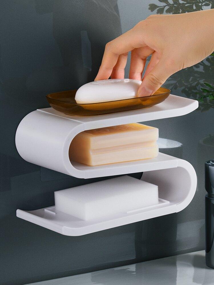 肥皂架 創意肥皂盒香皂盒架子壁掛式衛生間免打孔家用吸盤式瀝水浴室皂托【MJ4309】