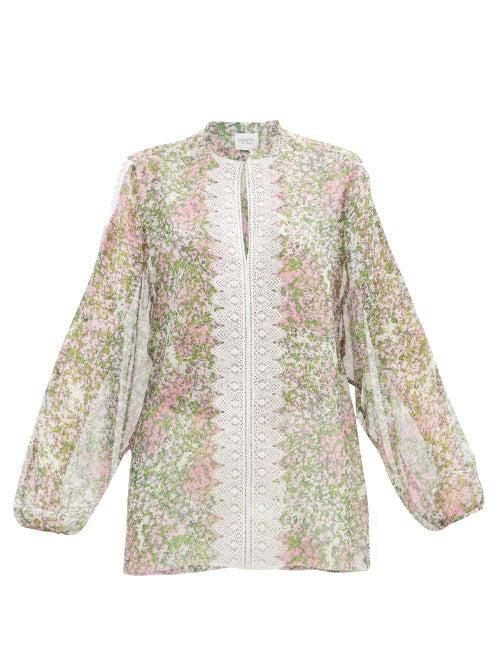 Giambattista Valli - Lace-trimmed Microfloral-print Silk Blouse - Womens - Multi