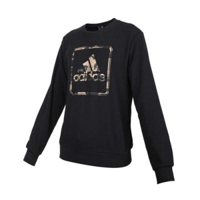 ADIDAS 男圓領長袖T恤-大學T 慢跑 圈毛 上衣 亞規 愛迪達 GM4477 黑棕墨綠