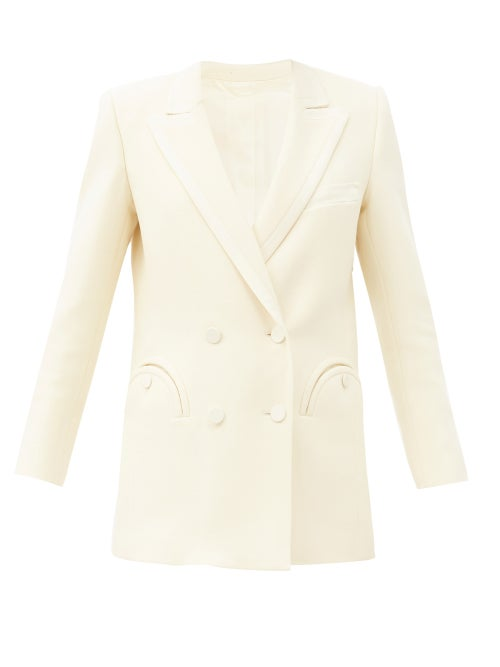 Blazé Milano - Resolute Double-breasted Wool-twill Suit Jacket - Womens - Cream