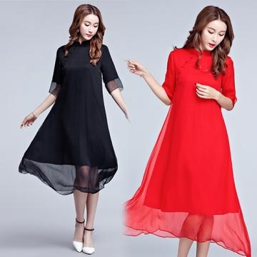 【韓國K.W.】KBN3642  蕙質人淡如菊刺繡洋裝