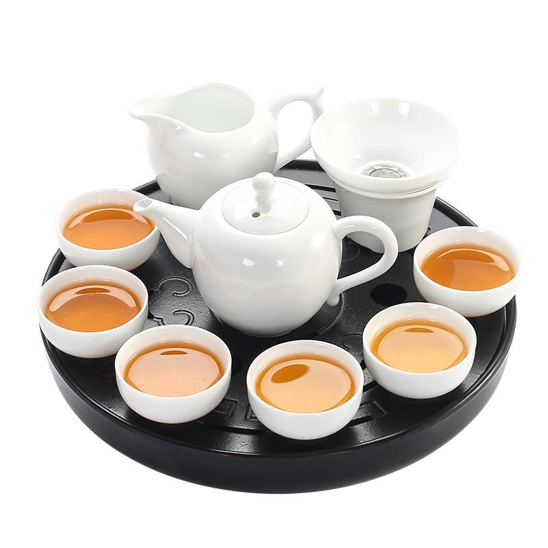 新上架-茶具 純白瓷功夫茶具套裝中式家用干泡茶盤辦公簡約陶瓷泡茶壺茶杯蓋碗