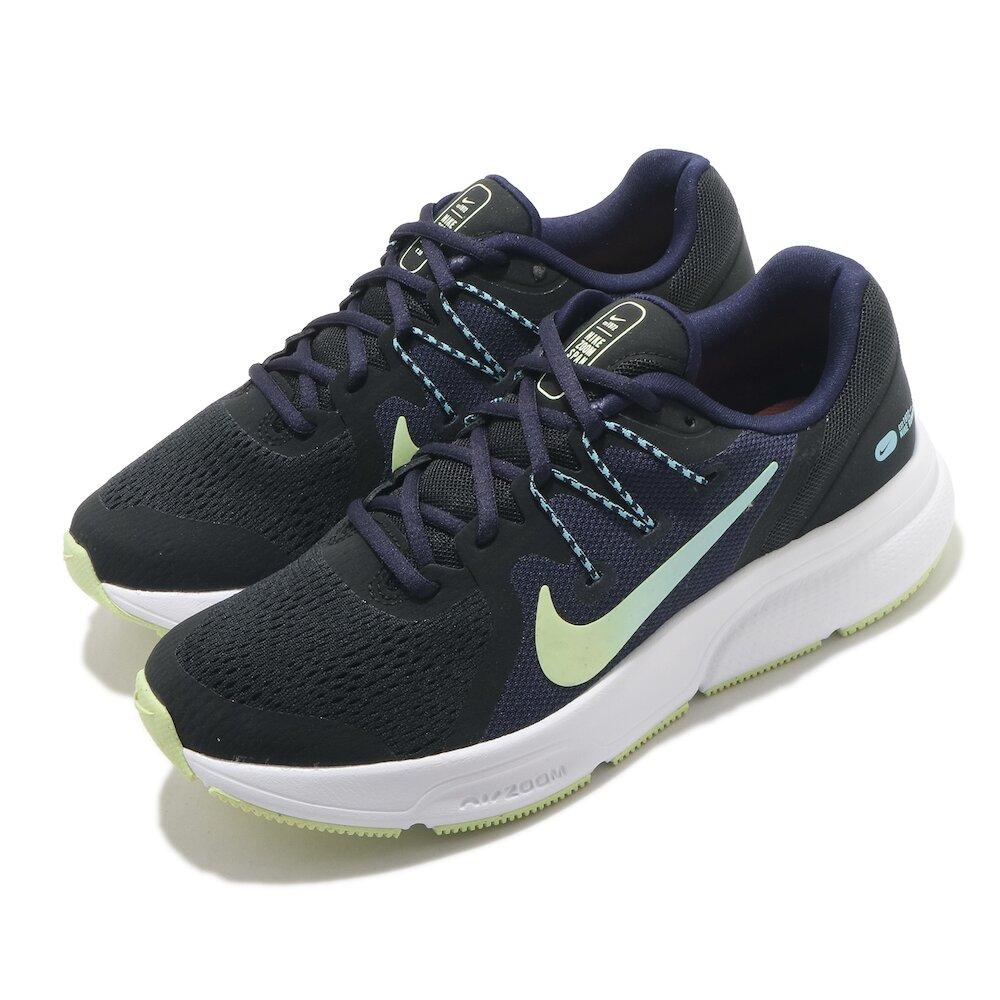 NIKE 慢跑鞋 Zoom Span 3 運動 女鞋 氣墊 舒適 避震 輕量 路跑 健身 黑 綠 [CQ9267-013]