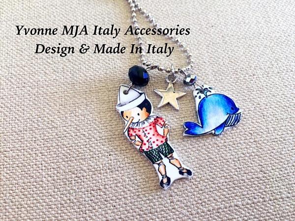 Yvonne MJA 義大利飾品 美國文學迪士尼木偶奇遇記皮諾丘與海豚項鍊
