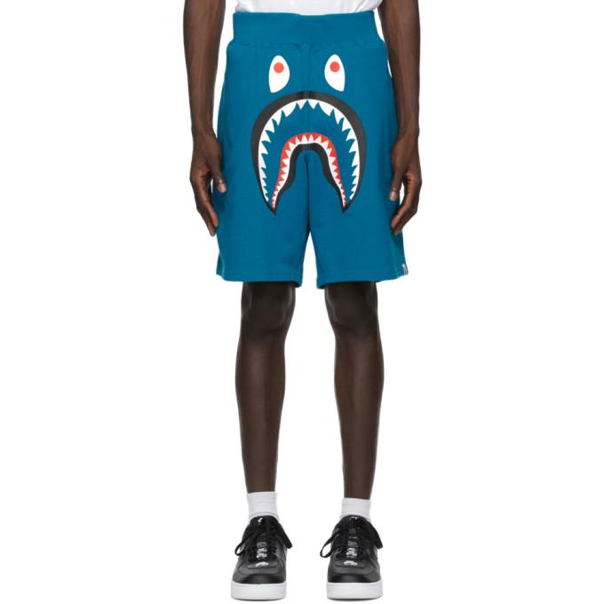 BAPE 蓝色 Wide Shark 运动短裤