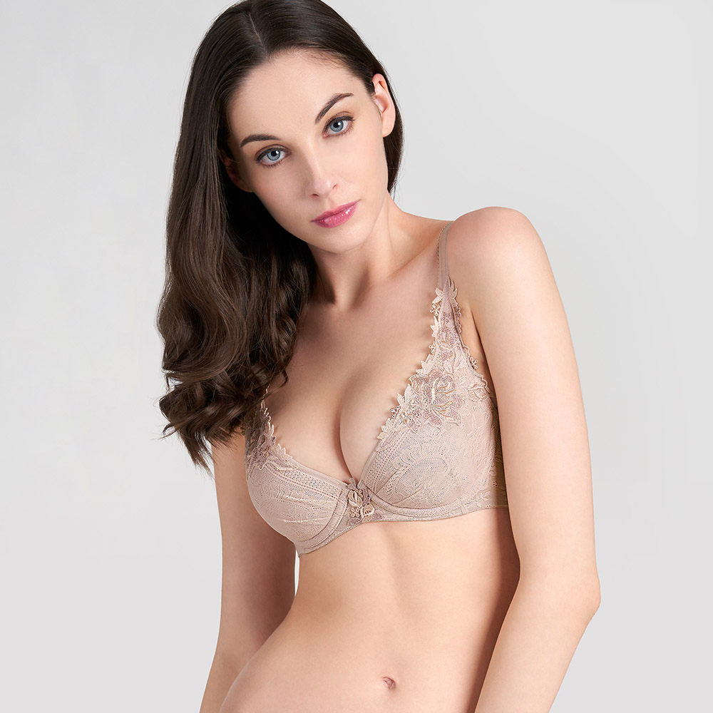 【新品優惠中】黛安芬-Premium玫瑰寄情系列 透氣包覆托高集中 B-D罩杯內衣 氣質裸|16-8611 2A
